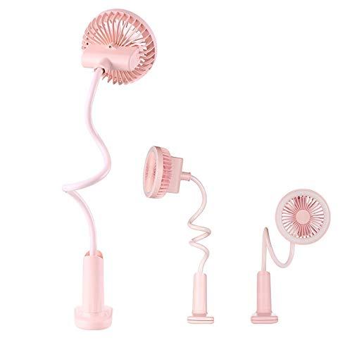 Gouerping Portable Outdoor Mini USB Fan with Rechargeable 1500 mAh Battery Clip Fan Feel Free to Bend Desktop Table Lamp Fan Silent Fan Wall Mount (Color : Pink)