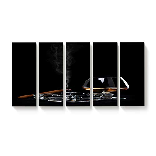 5 Panels Canvas Print Wall Art Ashtray Cigar Wine Glass Unhealthy Habit Wall Decor Pictures for Living Room Modern Artwork Paintings Photographs Stretched and Framed Ready to Hang 12x32inch