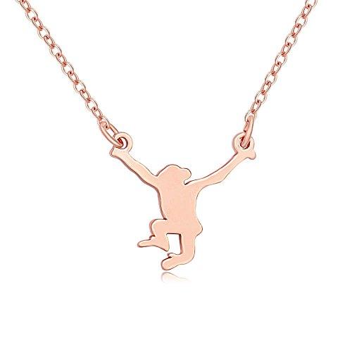 MANZHEN Tiny Lovely Hanging Monkey Animal Charm Pendant Necklace (Rose -