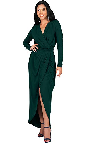KOH KOH Womens Long Sleeve Full Length V-Neck Sexy Wrap Empire Waist Formal Winter Fall Cocktail Wedding Evening Gown Gowns Maxi Dress Dresses, Emerald Green L 12-14 (Jersey Gown Sleeve)