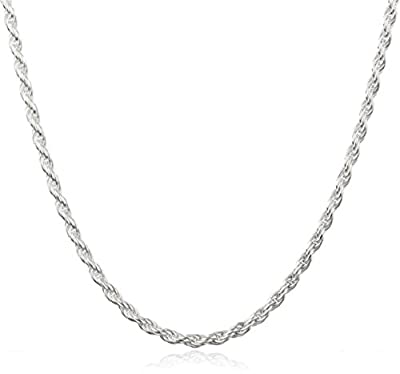 "Sterling Silver 2mm Rope Chain - Available in 7"" to 40"" Available"