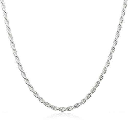 925 Sterling Silver 2mm Rope Chain (sterling-silver, 22 (Sterling Silver 22 Inch Rope)