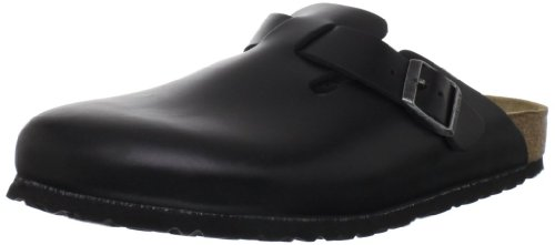 Birkenstock Boston Black Leather - Birkenstock Women's Boston SFB Heritage Leather, Black Amalfi, 38 M EU