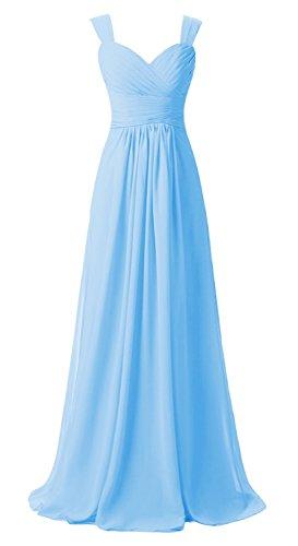 Doubles Bretelles Des Femmes Anlin Longue Robe De Soirée Bal En Mousseline De Soie Mère Robe De Mariée An72 Bleu Ciel