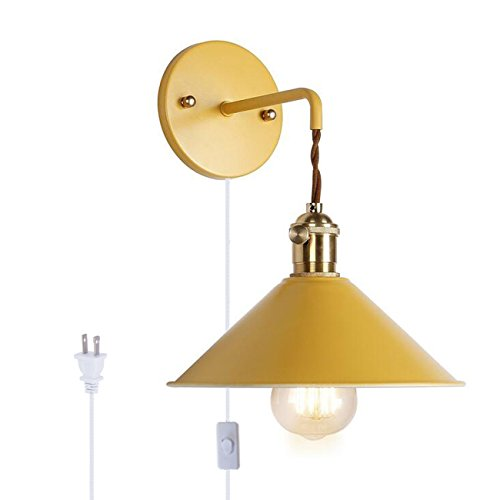 Kiven Nordic Wall Sconce One Cable( Mains plug and on/off switch) Macaron Bedside Reading Light E26 Edison copper l& holder Aisle Lights frosted paint ...  sc 1 st  Industrial Lighting & Kiven Nordic Wall Sconce One Cable( Mains plug and on/off switch ...