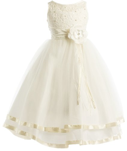 Peek-A-Boo Illusion Ribbon Communion Flower Girl Pageant Dress - Ivory 6