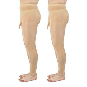 "Men Footless Pantyhose Nylon Tights Sheath Open (L / 25"" - 38"", 2 Pairs - Beige)"