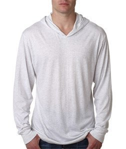 Next Level Apparel Men's Tri-Blend Extreme Soft Rib Knit Hoodie, Large, Heather White