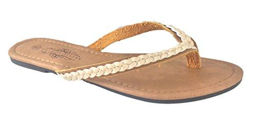 Charles Albert Women's Woven Braid Flip Flop Thong Sandal-Natural-8