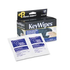 Read Right Products - Read Right - KeyWipes Keyboard & Hand Cleaner Wet Wipes, 5 x 6 7/8, 18/Box - Sold As 1 Box - Premoistened, germicidal wipes clean and disinfect keyboards, office equipment and hard, nonporous surfaces.