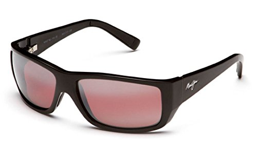 Maui Jim Wassup R123-02 | Polarized Gloss Black Wrap Frame Sunglasses, with with Patented PolarizedPlus2 Lens Technology