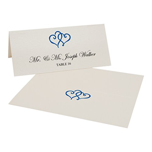 Linked Hearts Easy Print Place Cards, Champagne, Royal Blue, Set of 25 (7 (Royal Champagne Set)