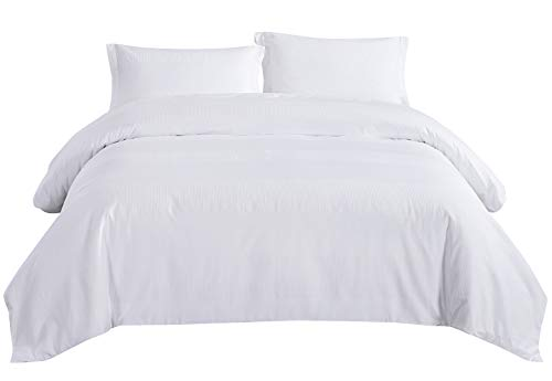 PHF Cotton Waffle Duvet Cover Set Lightweight with Sateen Stripes Hotel Luxury Bedding Set 3 Pieces Queen Size White