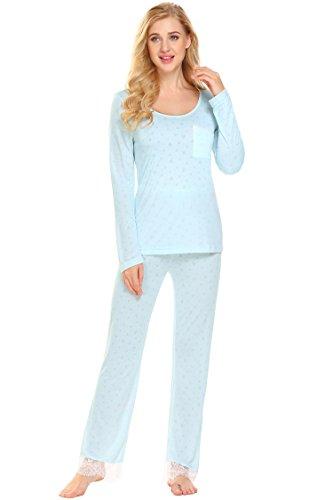 ADOME Warm Damen Schlafanzug Lang fur Winter Modal Weich mit Saum Elastischer Bund