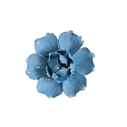 ALYCASO Wall Decoration for Living Room Bedroom Wall Hanging 3D Wall Art Ceramic Flower Pediments Sculpture, Blue, 15cm