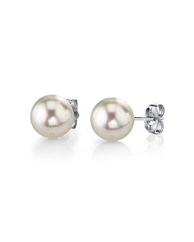 THE PEARL SOURCE 14K Gold 6.5-7mm AAA Quality Round White Cultured Akoya Stud Pearl Earrings for Women