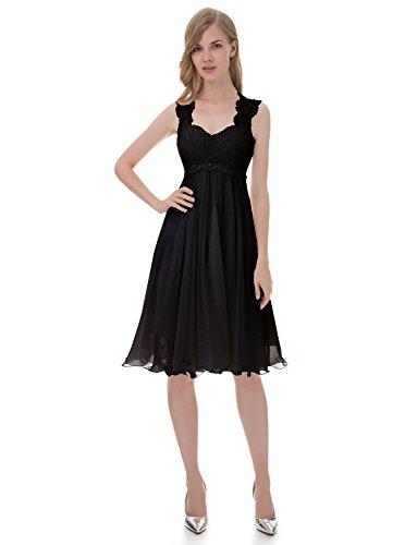 Hochzeitskleid Chiffon Kurze Spitze Schwarz Brautkleid Erosebridal xYEtq4wHHp