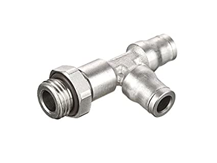 Push-to-Connect and Metric Run Tee 4 mm and M5X0.8 mm Nickel Plated Brass Parker 171PLM-4M-M5 Prestolok PLM Metal Push-to-Connect Fitting Tube to Pipe