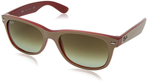 Ray-Ban Men's New Wayfarer Square Sunglasses, Matte Beige on Opal Red, 58 - 2132 Red Ban Ray