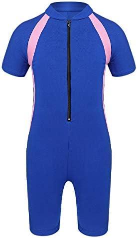 Swimming Costume Freebily Kids Boys Girls Short Sleeve Zip Rash Guard Swimsuit Sun Protection Shorty Wetsuit UPF 50