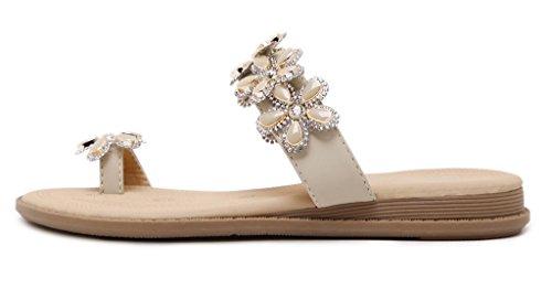 Fortuning's JDS Moda deslumbrante flor de diamantes de imitación dedo del pie anillo sandalias de playa plana Albaricoque