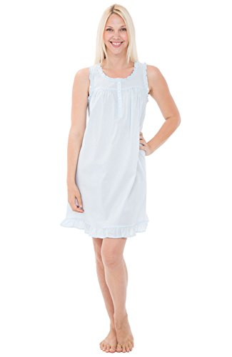 Alexander Del Rossa Womens 100% Cotton Lawn Nightgown, Sleeveless Chemise, Small Light Blue (A0580LBLSM)