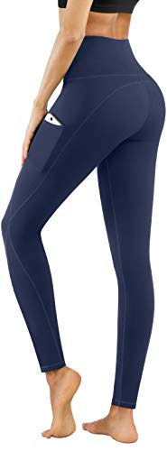 PHISOCKAT High Waist Yoga Pants with Pockets, Tummy Control Yoga Pants for Women, Workout 4 Way Stretch Yoga Leggings (Navy, X-Large)