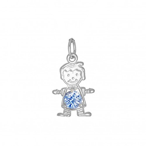 Birthstone Boy Pendant (DTLA Sterling Silver CZ Simulated Birthstone Boy Charm Pendant for Baby and Children - March)