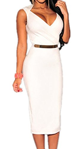 Sidefeel Women's Classic Brief Sleeveless Belted Midi Dress For Party One Size White