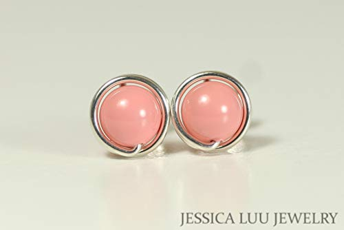 (Sterling Silver Pink Coral Stud Earrings with Swarovski Pearls Wire Wrapped Sterling Silver or Gold Filled)