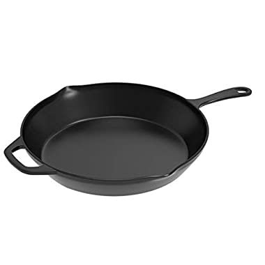 Home-Complete Pre-Seasoned Cast Iron Skillet- 12 inch for Home, Camping, Indoor and Outdoor Cooking, Frying, Searing and Baking