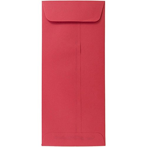 JAM Paper 10 Open End Policy Envelope – 4 1/8 x 9 1/2 – Brite Hue Christmas Red – 25/pack