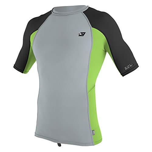 ONeill Mens Premium Skins UPF 50+ Short Sleeve Rash Guard, Grey/Dayglo/Black, Medium