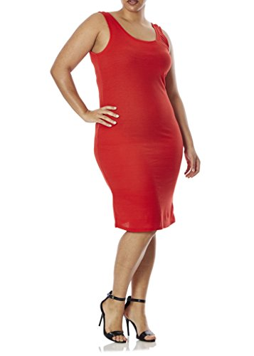 [77803XR-CHY-4X] Love Connection Ribbed Tank Dress for Women - Plus Size, Fitted, Cherry Red (Tank Dress Plus Size)