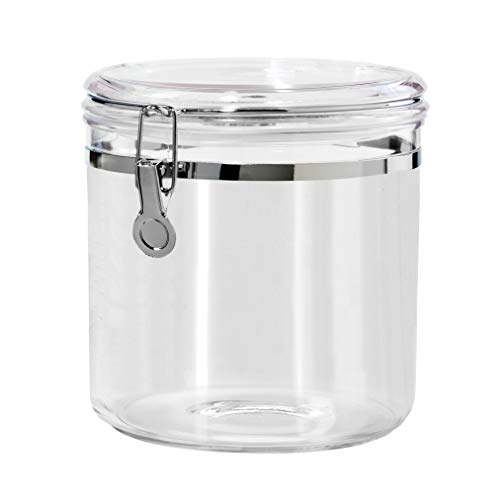 Oggi Jumbo Acrylic Airtight Canister with Clamp, 150-Ounce (5344) (Glass Cookie Canister)