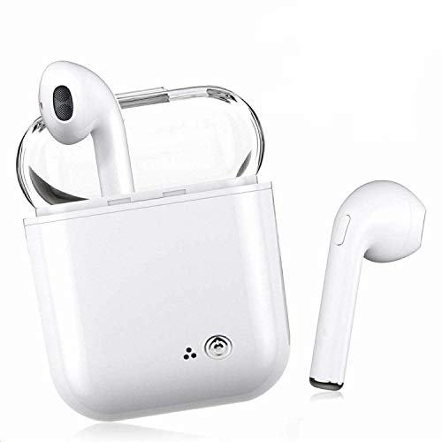 Bluetooth Earbuds, White Wireless Earbuds in-Ear Headphones Hands Free Noise Cancelling Headset Compatible with XR X 8 8plus 7 7 Plus 6 6plus Samsung Galaxy S9 S8 Huawei Other Android Divices