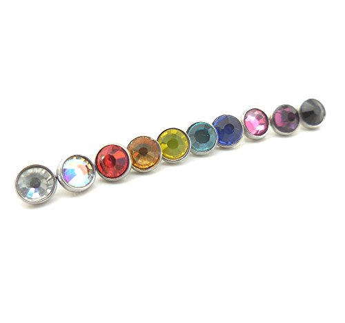 10 Colors Lot New 14g 4mm Flat Crystal Dermal Anchor Top Heads Surgical Steel by Emmajewels (Image #1)