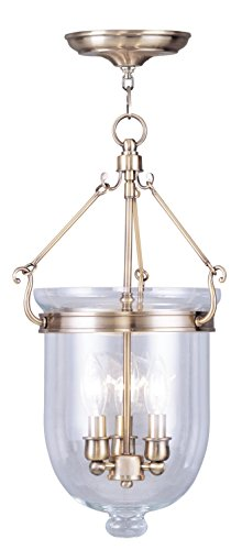 Livex Lighting 5063-01 Jefferson 3-Light Hanging Lantern, Antique Brass