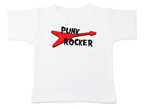 Kinacle Punk Rocker Baby/Toddler T-Shirt (12-18 Months, White)