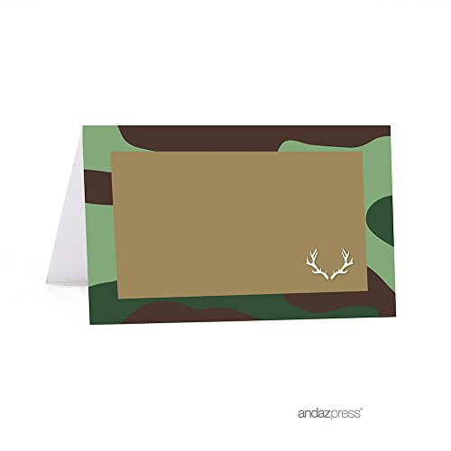 Andaz Press Woodland Camouflage Boy Baby Shower Collection, Table Tent Printable Place Cards, 20-Pack ()