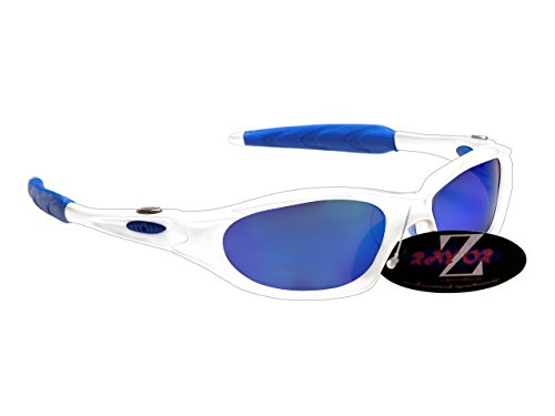 RayZor Professional Lightweight UV400 White Sports Wrap Cricket Sunglasses, With a Blue Iridium Mirrored Anti-Glare Lens