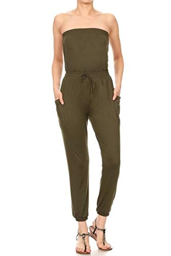 ShoSho Womens Spring Summer Solid Casual Jumpsuits Overalls One Piece Loose Fit Rompers Playsuits Tube Top Jogger Olive Small (Tube Piece One)