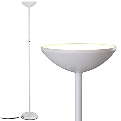 Brightech SkyLite LED Torchiere Floor Lamp – Bright, High Lumen Uplight for Reading In Living Rooms & Offices - 3 Way Dimmable to 30% Brightness - Tall Standing Pole Light - White - LIGHT AN ENTIRE LIVING ROOM OR OFFICE WITH A MINIMALIST, SUPER BRIGHT LAMP: With 1750 lumens, the Brightech SkyLite light blazes bright enough to be the only lighting source needed in your bedrooms, family room, living room, craft room, hobby room, or office without an overhead ceiling light. Capable of both mood and task lighting, Brightech's Skylite vintage lamp solves your lighting needs brightly and efficiently. MODERN, CONTEMPORARY STANDUP LAMP WITH FUNCTIONAL DESIGN: This lamp stands about 5 ½ feet tall and has a heavy base that makes it wobble free and safe to have around children and pets. Besidefor the base, it is lightweight and slender so you can move it between rooms easily eg from home office to kids room, without taking up too much space. The extension cord is approx 5 feet making it easy to place this lamp anywhere. DIMMABLE AND STAYS COOL TO THE TOUCH: This stand up lamp has a built in dimmer that allows you to set the light according to your task or mood. It stays cool to the touch so that you do not burn yourself when you touch it to reposition the light, plus this avoids heating the room up. - living-room-decor, living-room, floor-lamps - 31zOi8dlPbL. SS400  -
