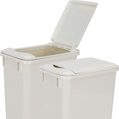 Pack of 2 - White- 50-Quart Plastic Waste Containers WITH LIDS