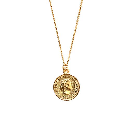 - Carved Gold Coin Pendant Necklace for Women Girls Men 925 Sterling Silver 18K Gold Plated Simple Round Chain Goddess Worship Celebrity Medal Reversible Keepsake Chic Choker Fashion Jewelry Gifts Box
