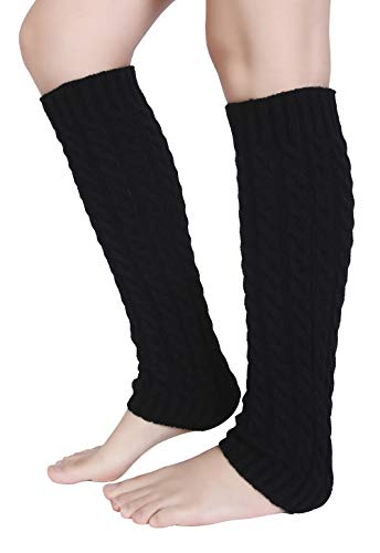 Warmers Leg Acrylic (Eleray Women's Winter Soft Over Knee High Cable Footless Socks Knit Leg Warmers (Black-Cable))