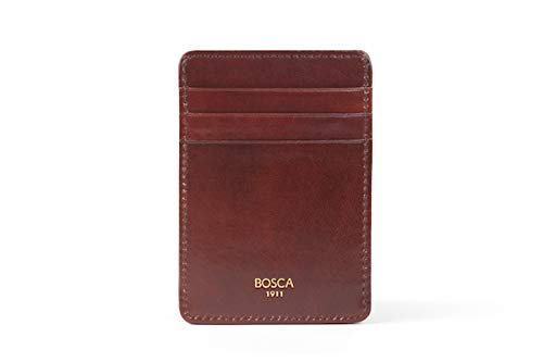 Bosca Men's Front Pocket Wallet in Dark Brown Old Leather - RFID