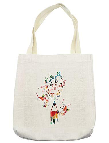 Lunarable ABC Classroom Tote Bag, Pen with Alphabet Butterflies Art of Writing Lesson Joyful School Years Motif, Cloth Linen Reusable Bag for Shopping Groceries Books Beach Travel & More, Cream ()