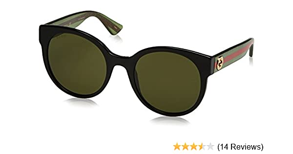 6ec27d6c95 Amazon.com  Gucci Women GG0035S 54 Black Green Sunglasses  Clothing