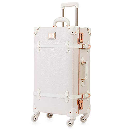Uretravel Vintage Luggage, Aluminum Frame Hardside Women Leather Suitcase with Spinner Wheels